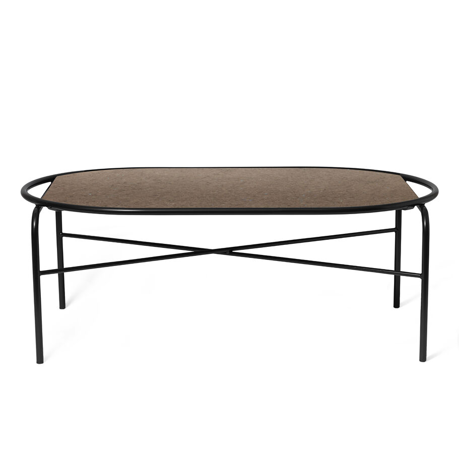 Secant coffee table in antique brown granite.