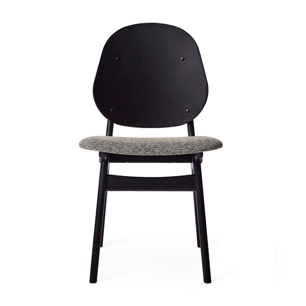 Black noble chair with seat in graphic sprinkles textile