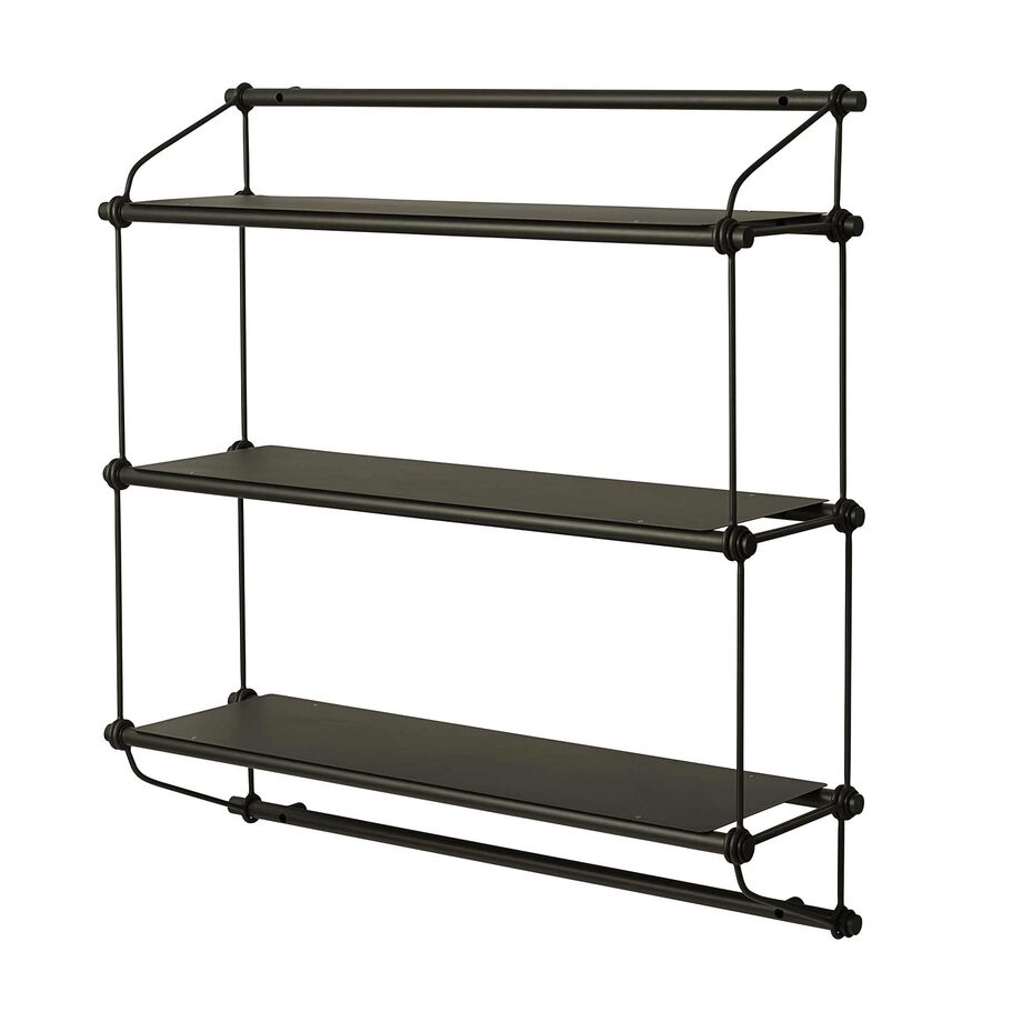 Parade shelving unit in olive green with three shelves.