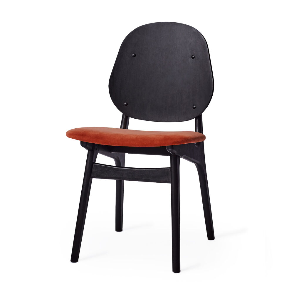 Black noble chair with seat in brick red textile