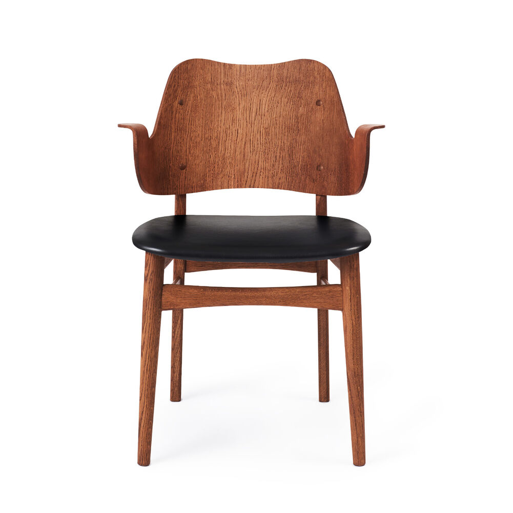 Gesture dining chair in teak and black Prescott leather