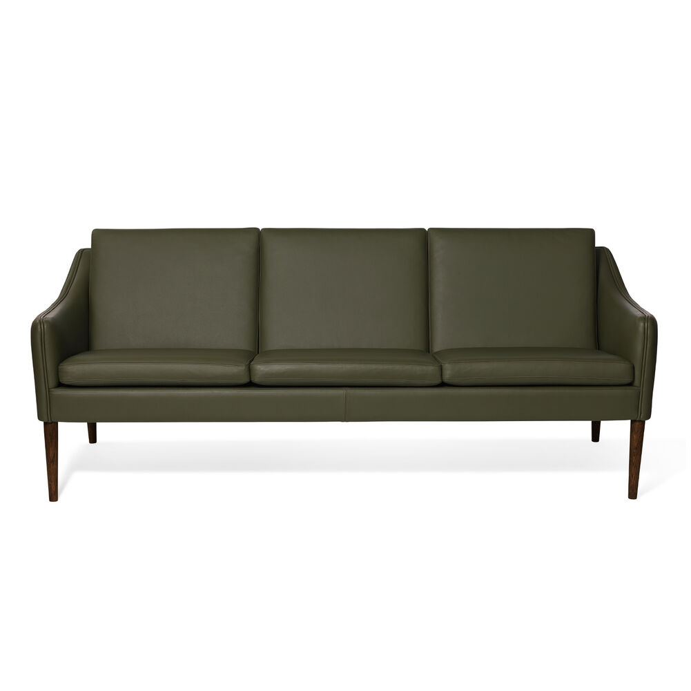 Mr. Olsen sofa in green leather with legs in walnut oiled oak.