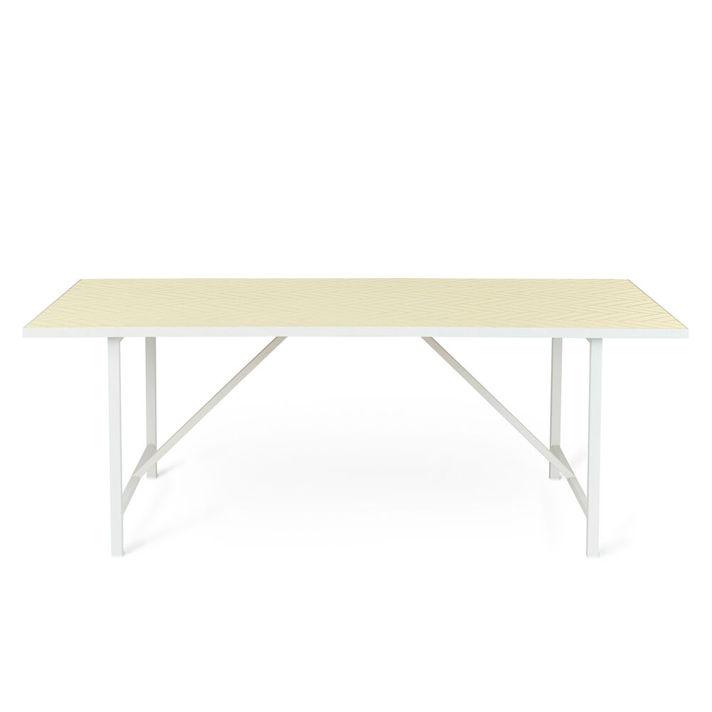 Herringbone tile dining table in butter yellow colour