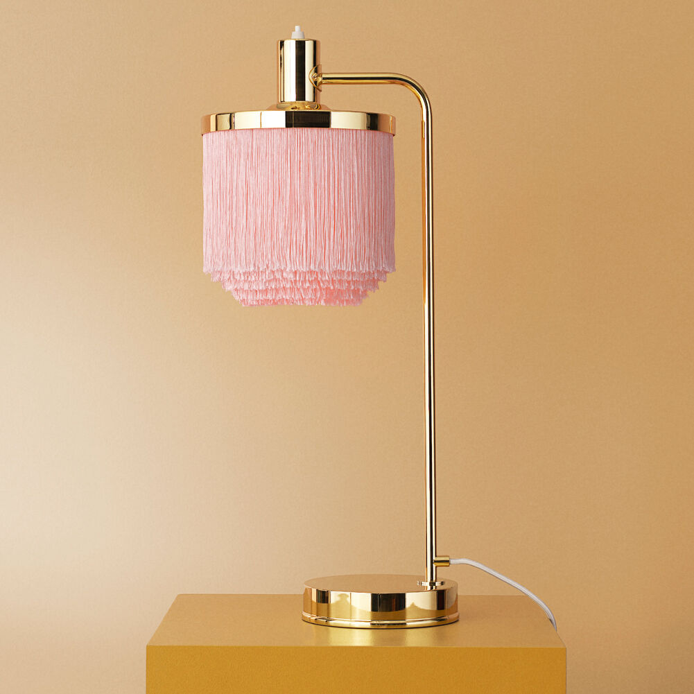 Fringe table lamp in pale pink colour