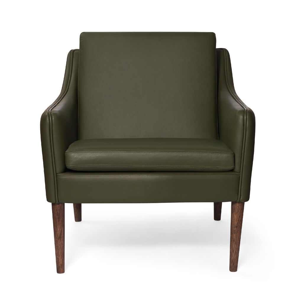 Mr. Olsen lounge chair in pickle green leather with legs in smoked oak.