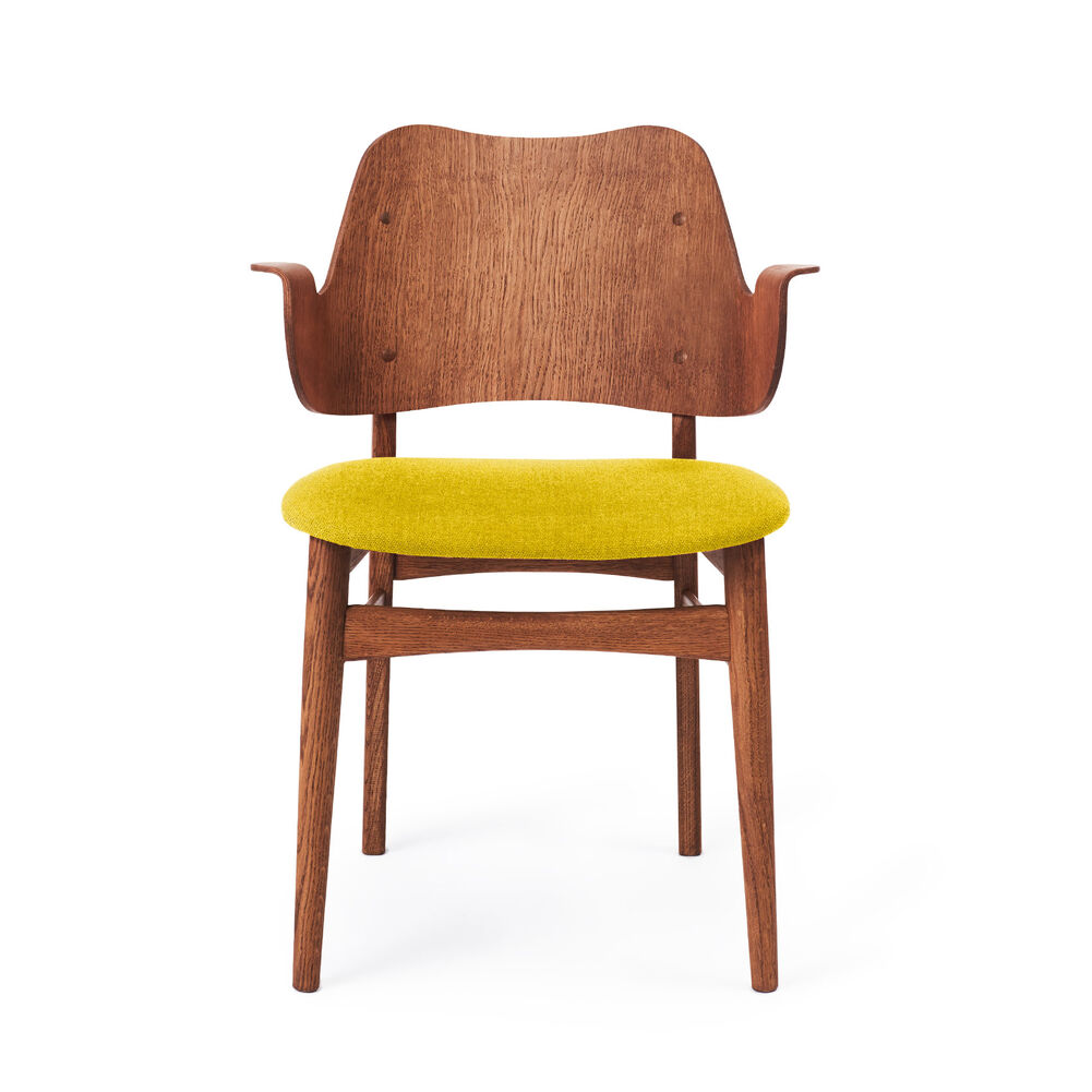 Gesture dining chair in teak and yellow