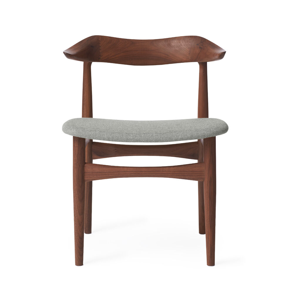 Cow horn dining chair in walnut and light grey textile