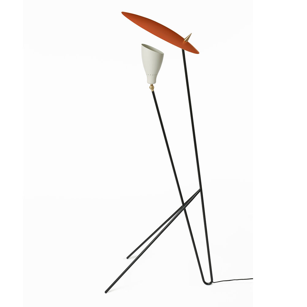 Silhouette floor lamp in warm white and rusty red
