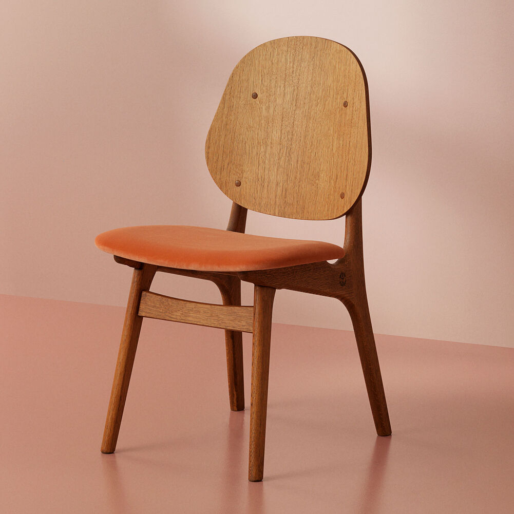 Teak noble dining chair and seat in rusty rose textile