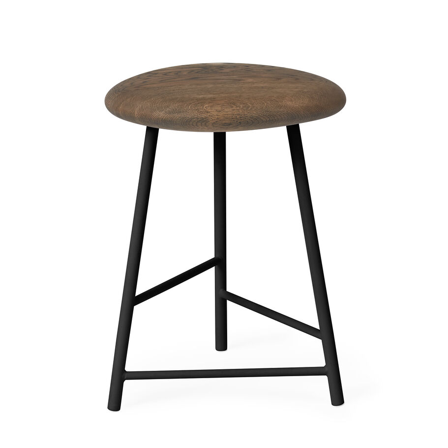 Pebble stool in smoked oak and black.