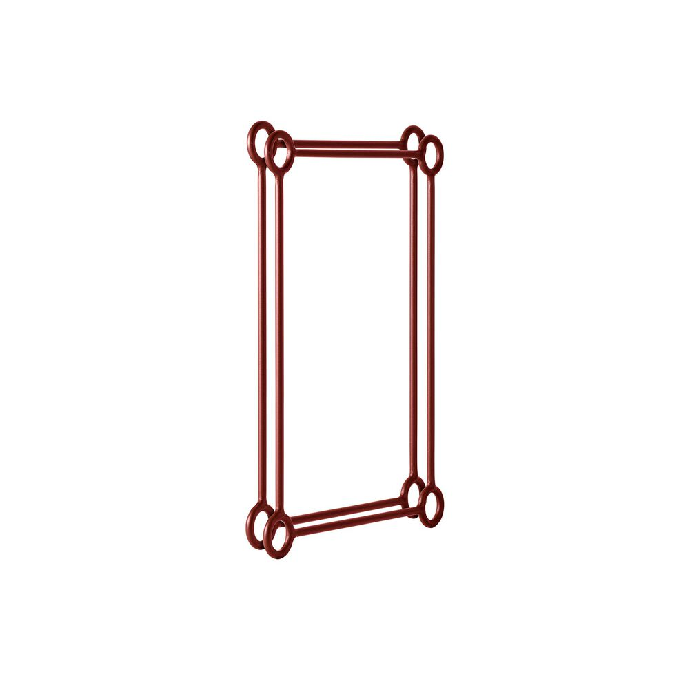 Shelving unit extender in oxide red.