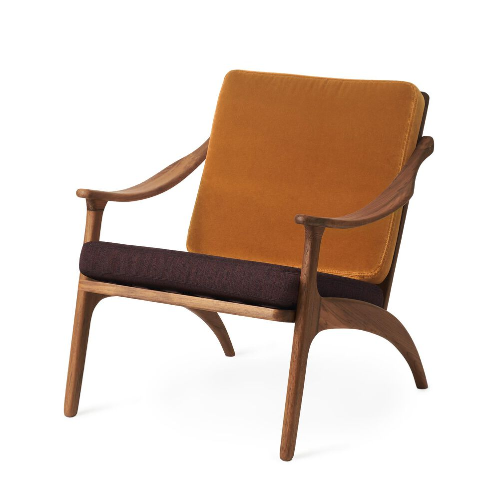 Lean Back lounge chair in teak wood, amber velvet and coffee brown.