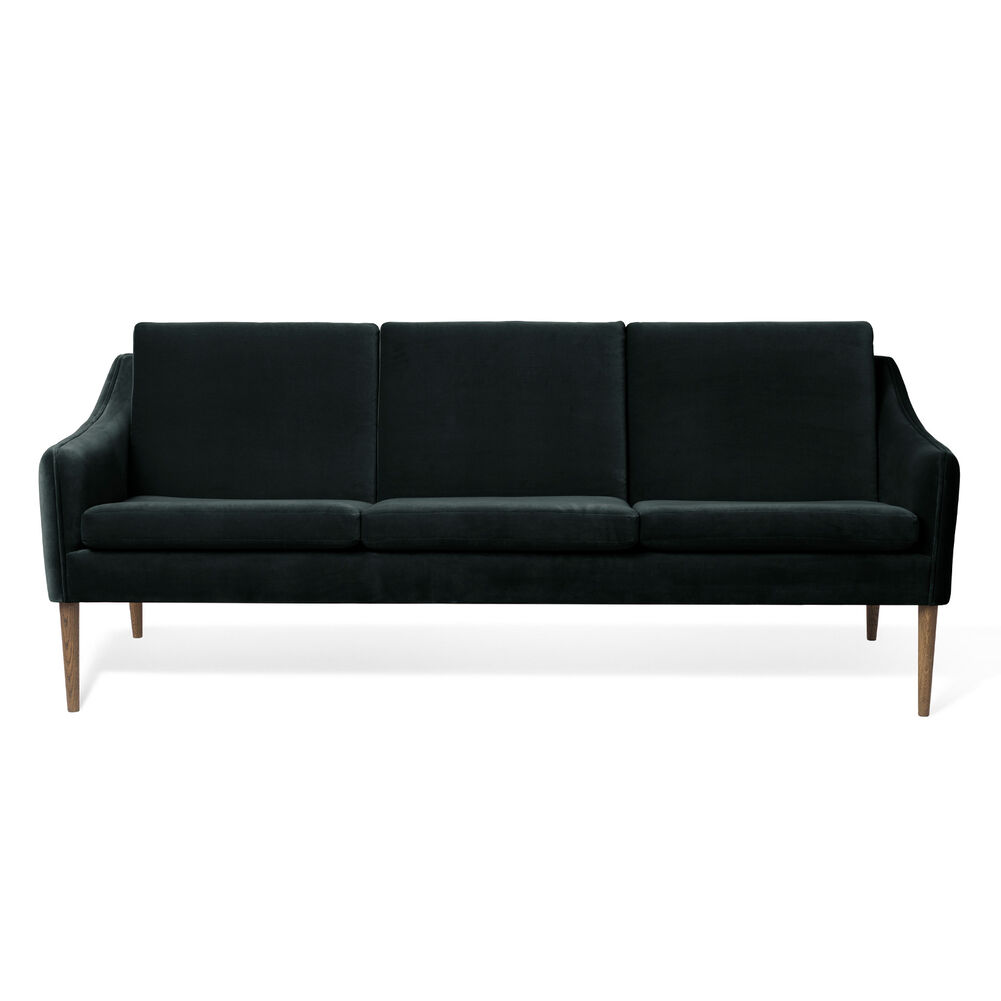 Mr. Olsen sofa 3 seater in dark petrol with legs in smoked oak.