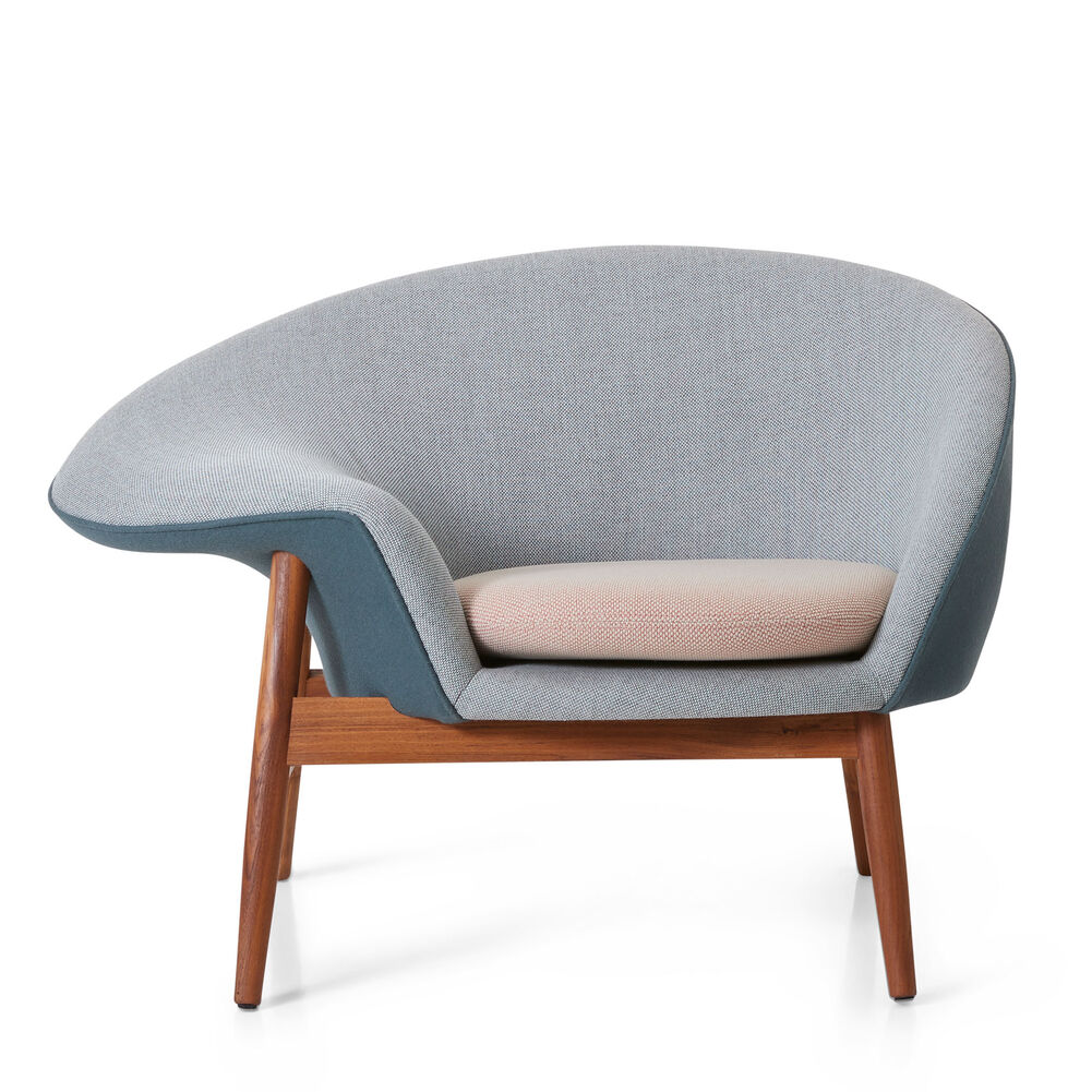 Fried Egg lounge chair in light green, blue petrol and pale peach colour designed by Hans Olsen.