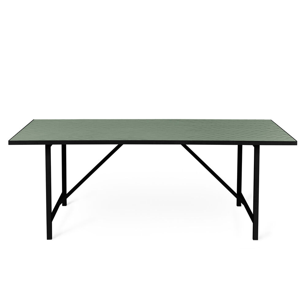 Herringbone tile dining table in forest green colour
