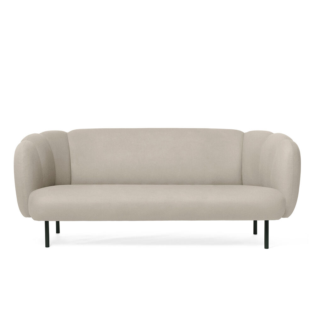 Cape sofa with stitches in pearl grey colour