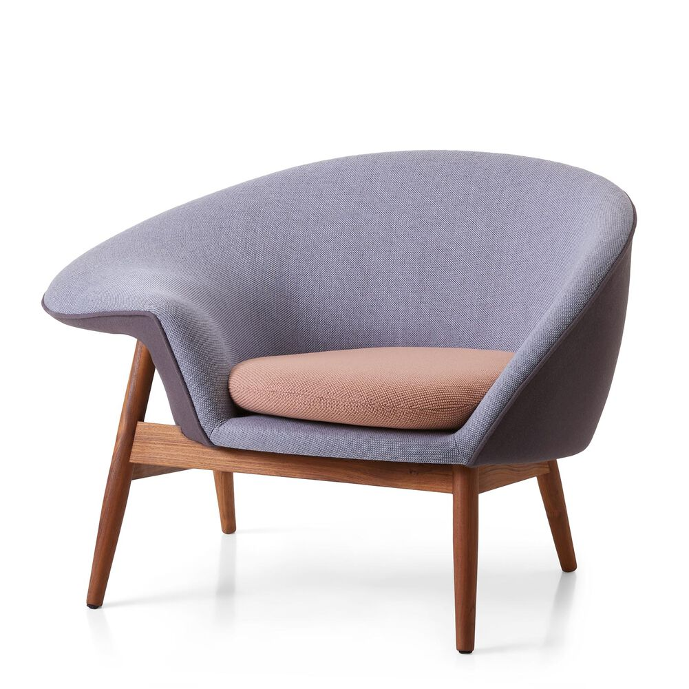 Fried Egg lounge chair in sustainable, pastel shade fabrics designed by Hans Olsen and Warm Nordic.