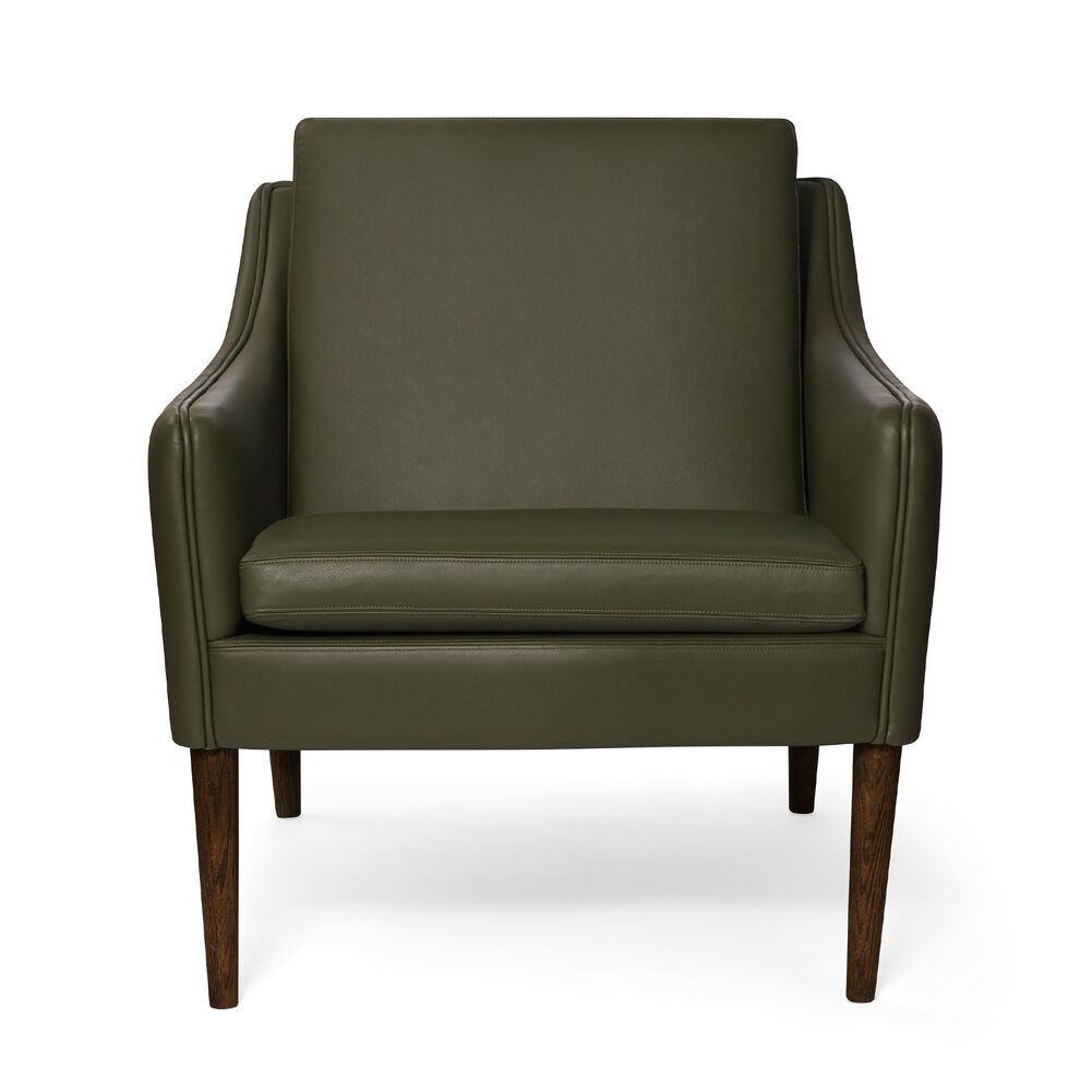 Mr. Olsen lounge chair in pickle green leather with legs in walnut oiled oak.