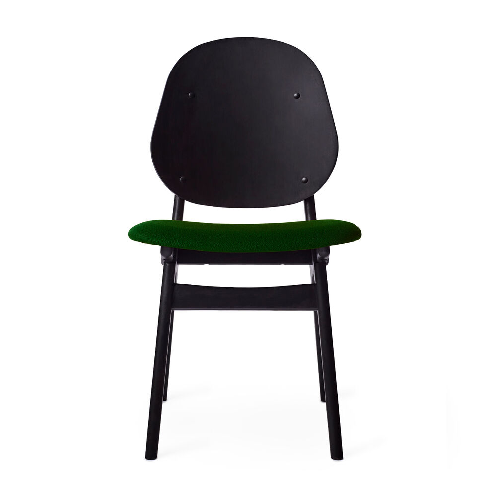Black noble chair with seat in moss green textile
