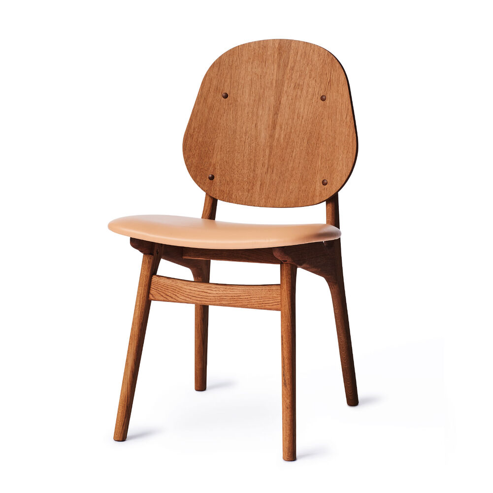 Teak noble dining chair and seat in nature leather