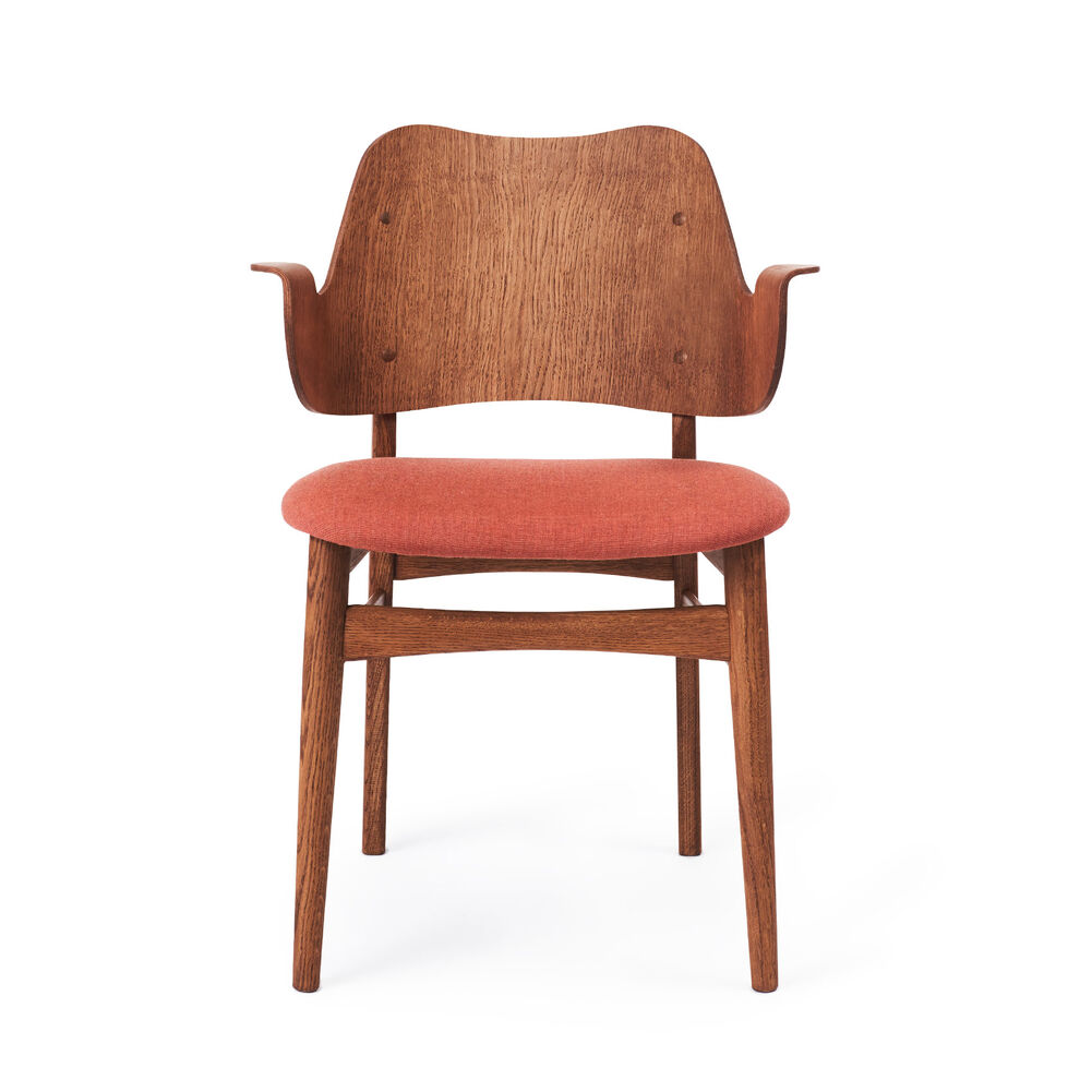 Gesture dining chair in teak and peachy pink
