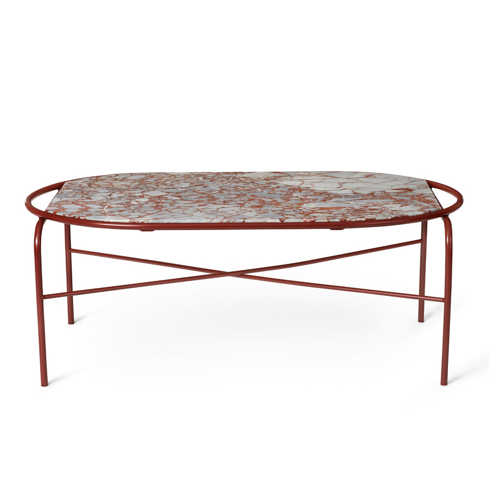 Secant coffee table in red veined marble.