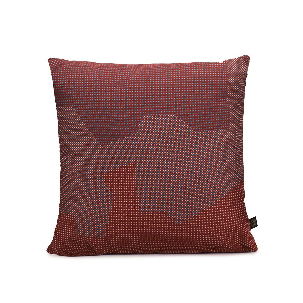 Meadow sprinkle map cushion in bordeaux red colour