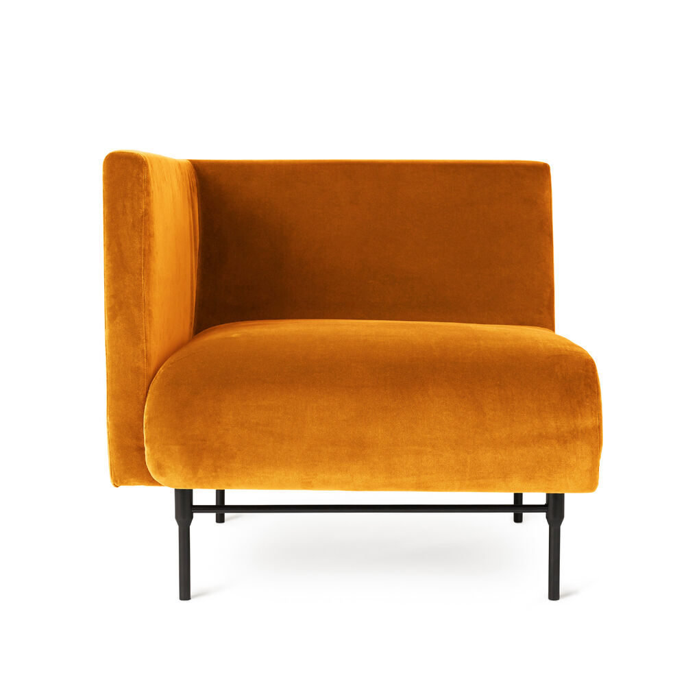 Galore sofa left module in amber velour.