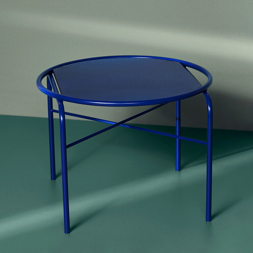 Secant table in cobalt blue.