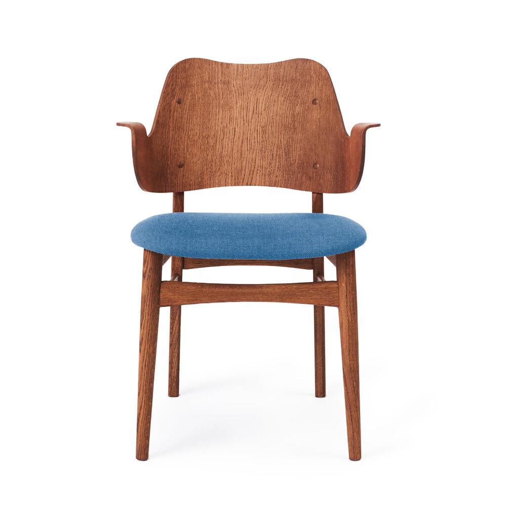 Gesture dining chair in teak and denim blue