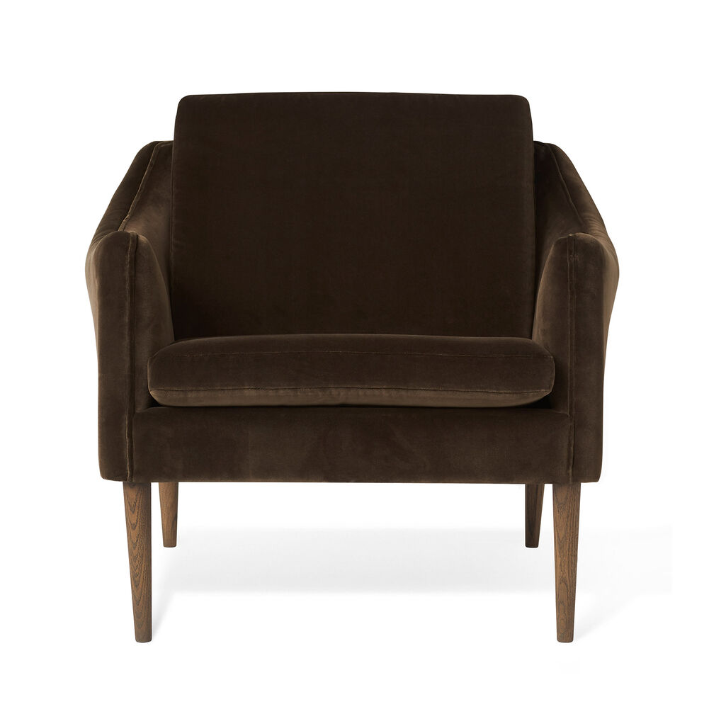 Mr. Olsen lounge chair in java brown velvet with legs in smoked oak.