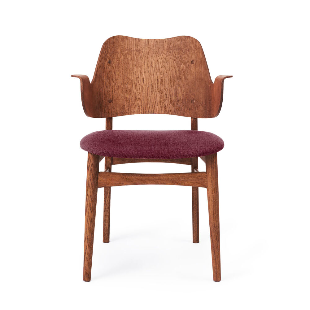 Gesture dining chair in teak and bordeaux