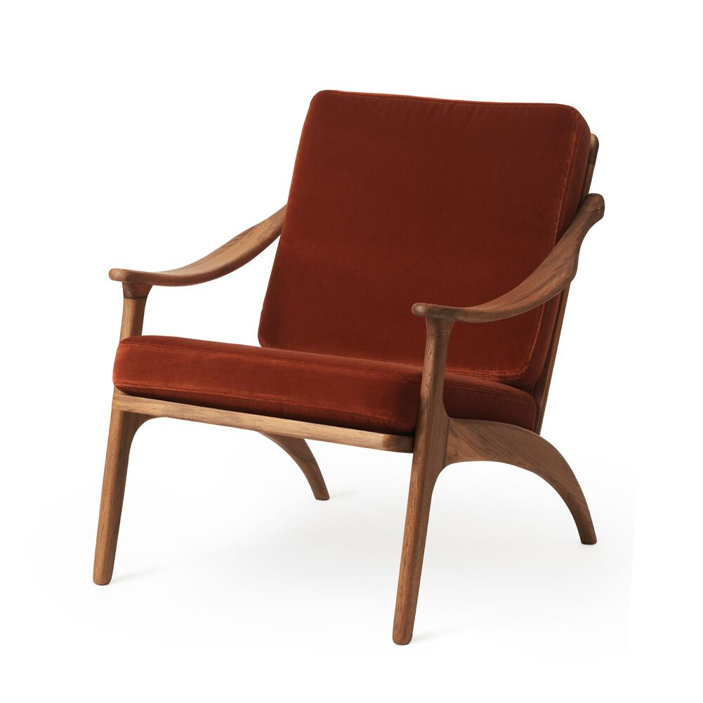 Lean Back lounge chair in teak wood and brick red velvet.