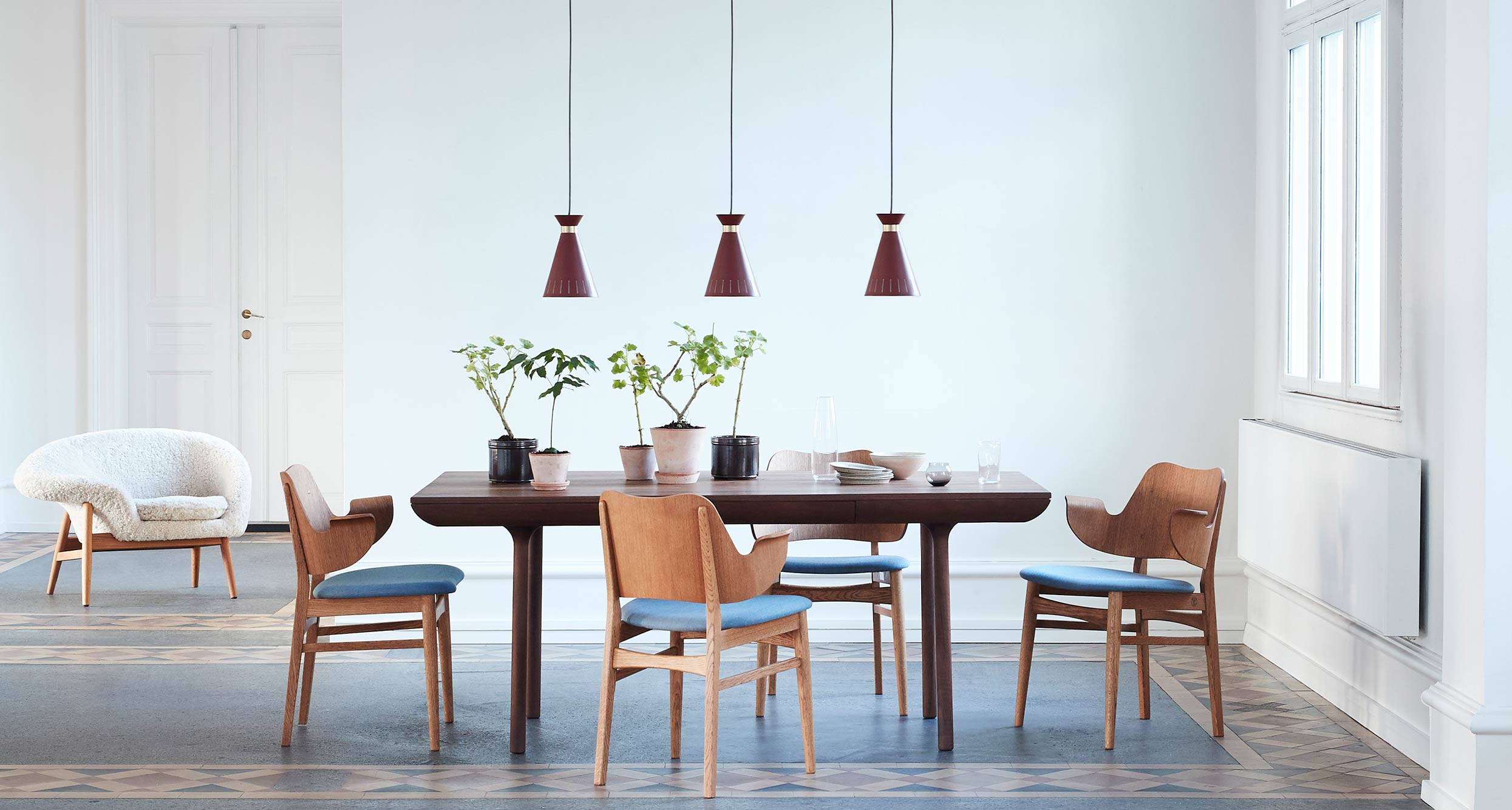 Cone pendants in dining room
