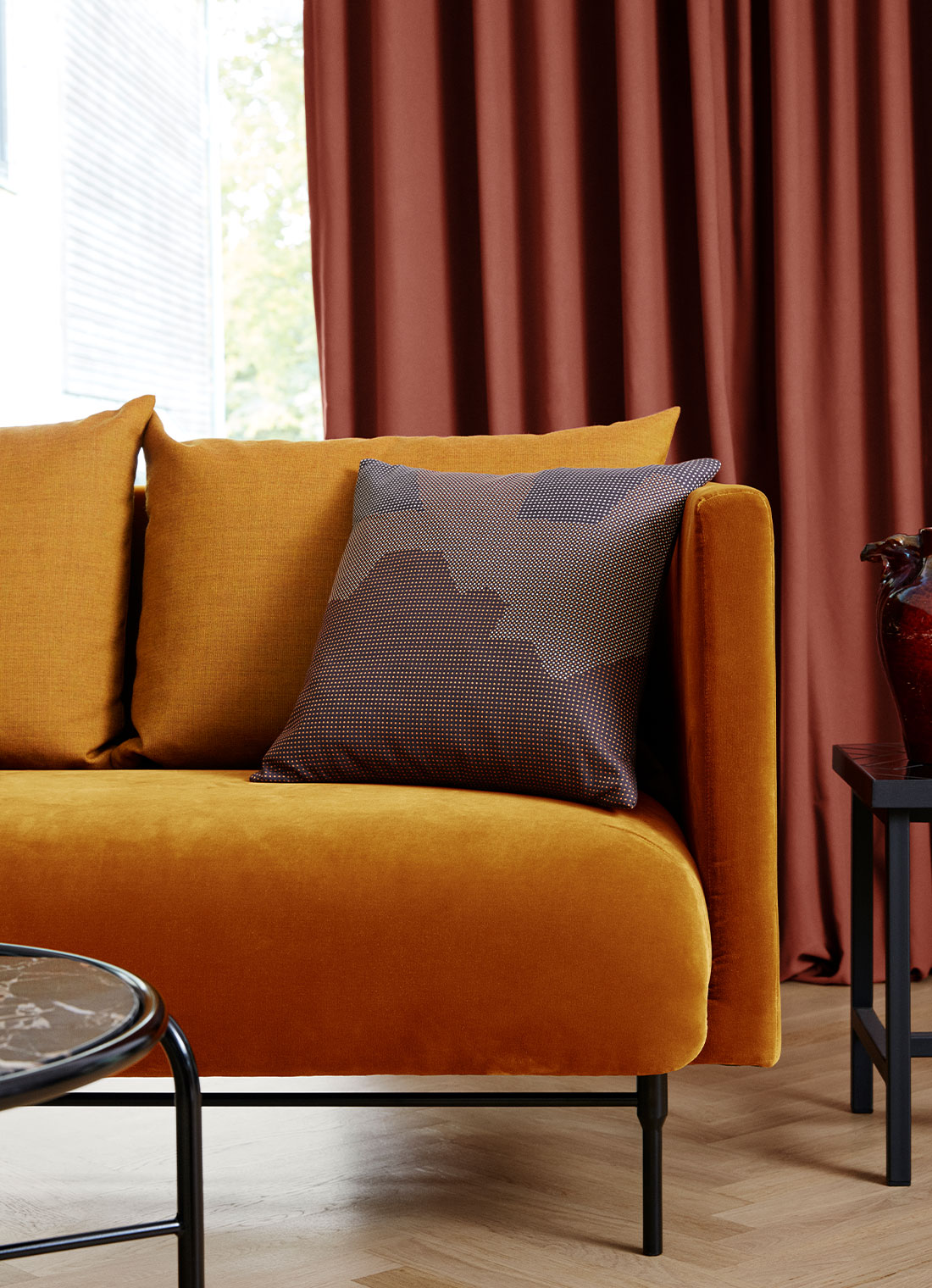 Galore sofa in a colourful, modern living room.