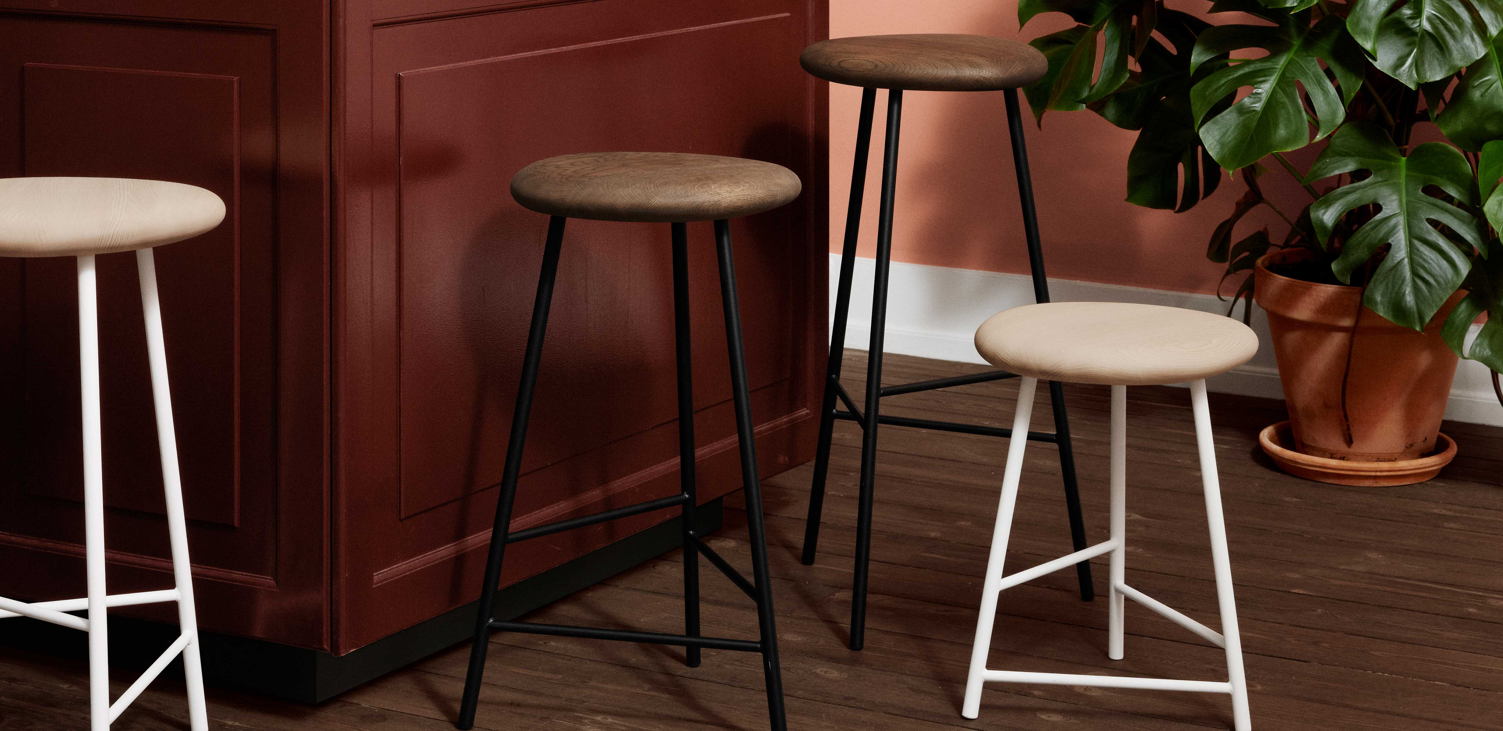 Pebble bar stools in a kitchen