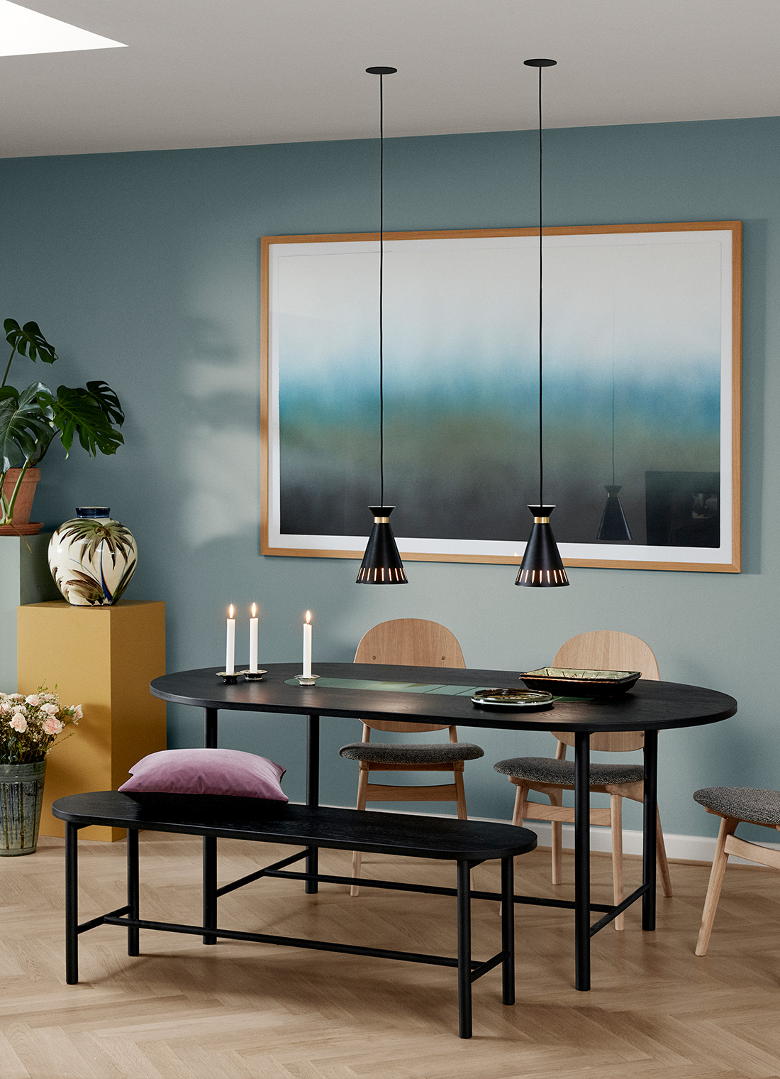 Cone pendant in diningroom setting