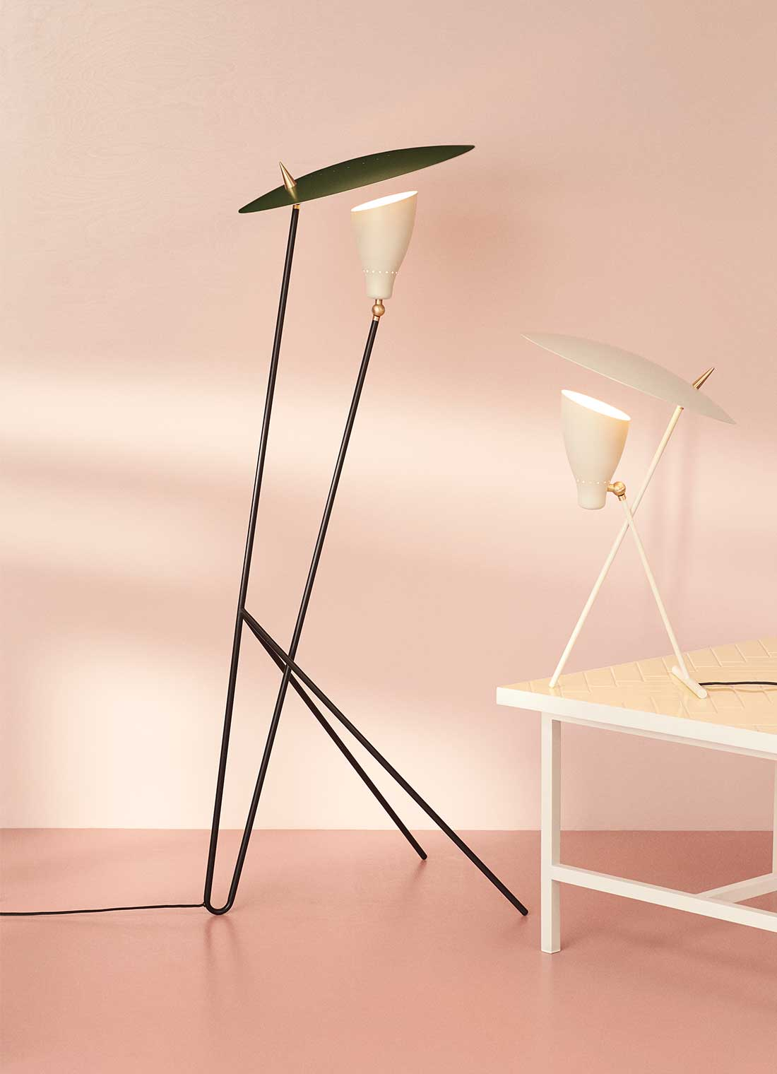 Silhouette table and floor lamp