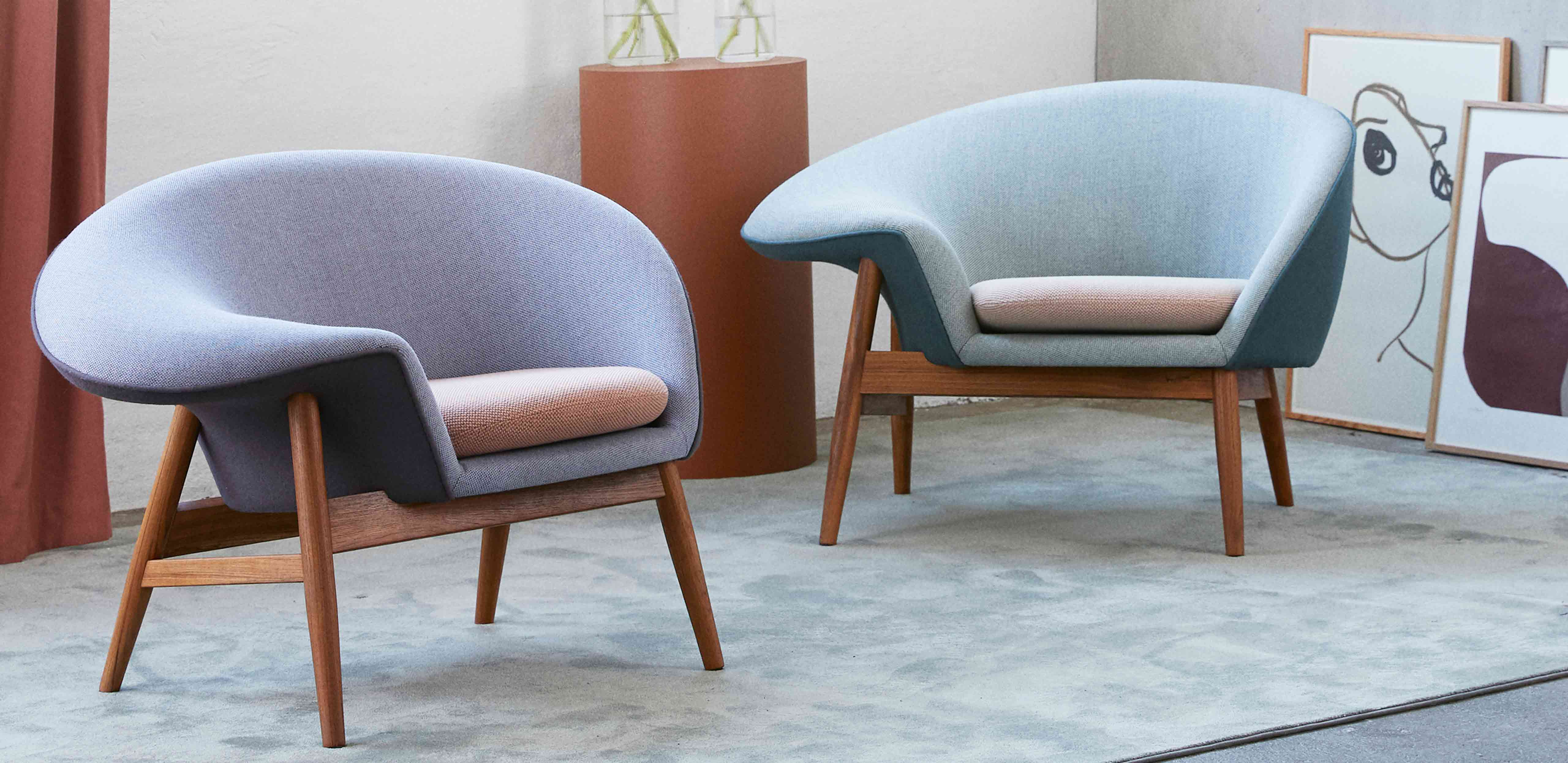 Fried Egg lounge chairs in sustainable, pastel shade fabrics in a cozy living room.