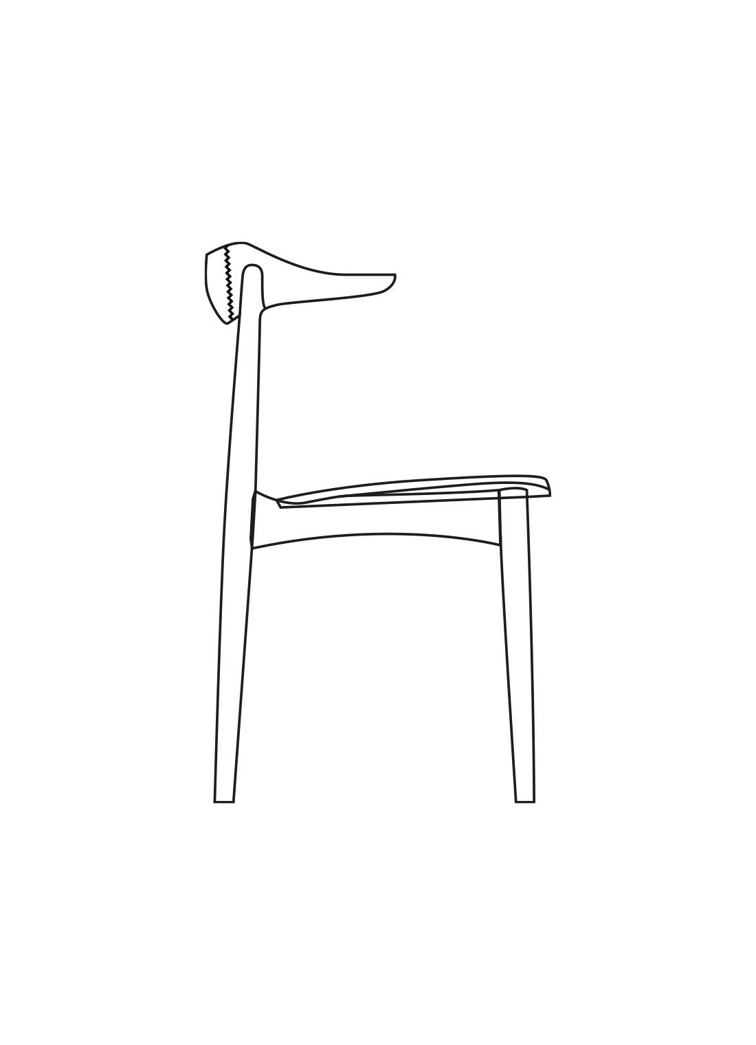 Cow Horn dining chair illustration