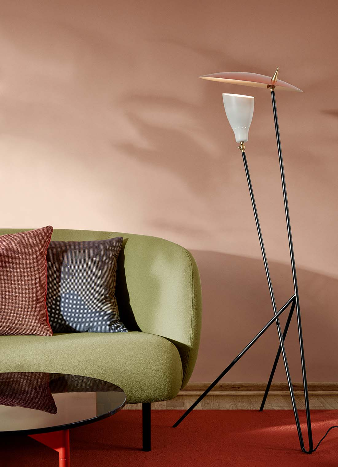 Silhouette floor lamp in living room setting