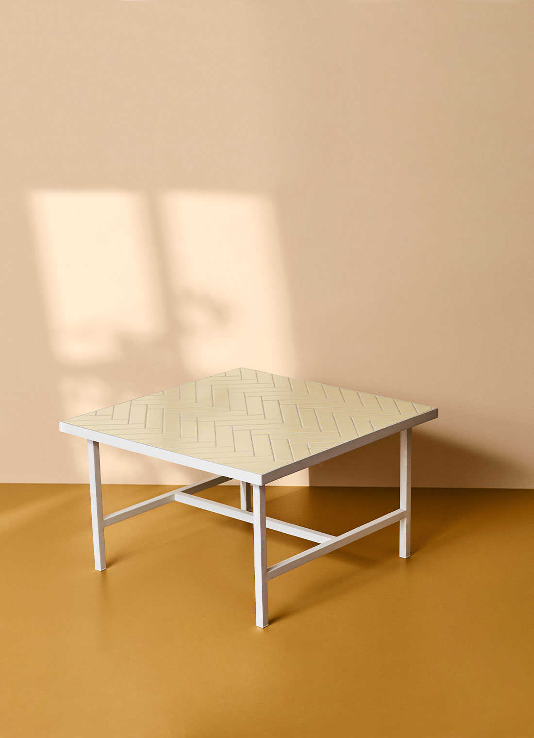 Herringbone tile coffee table, butter yellow