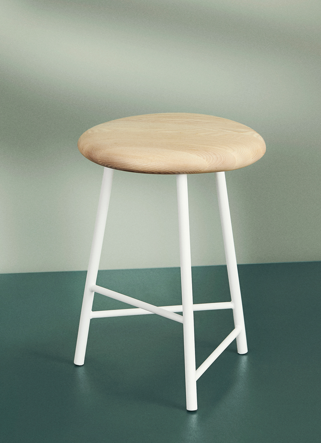 Pebble stool in ash and white.