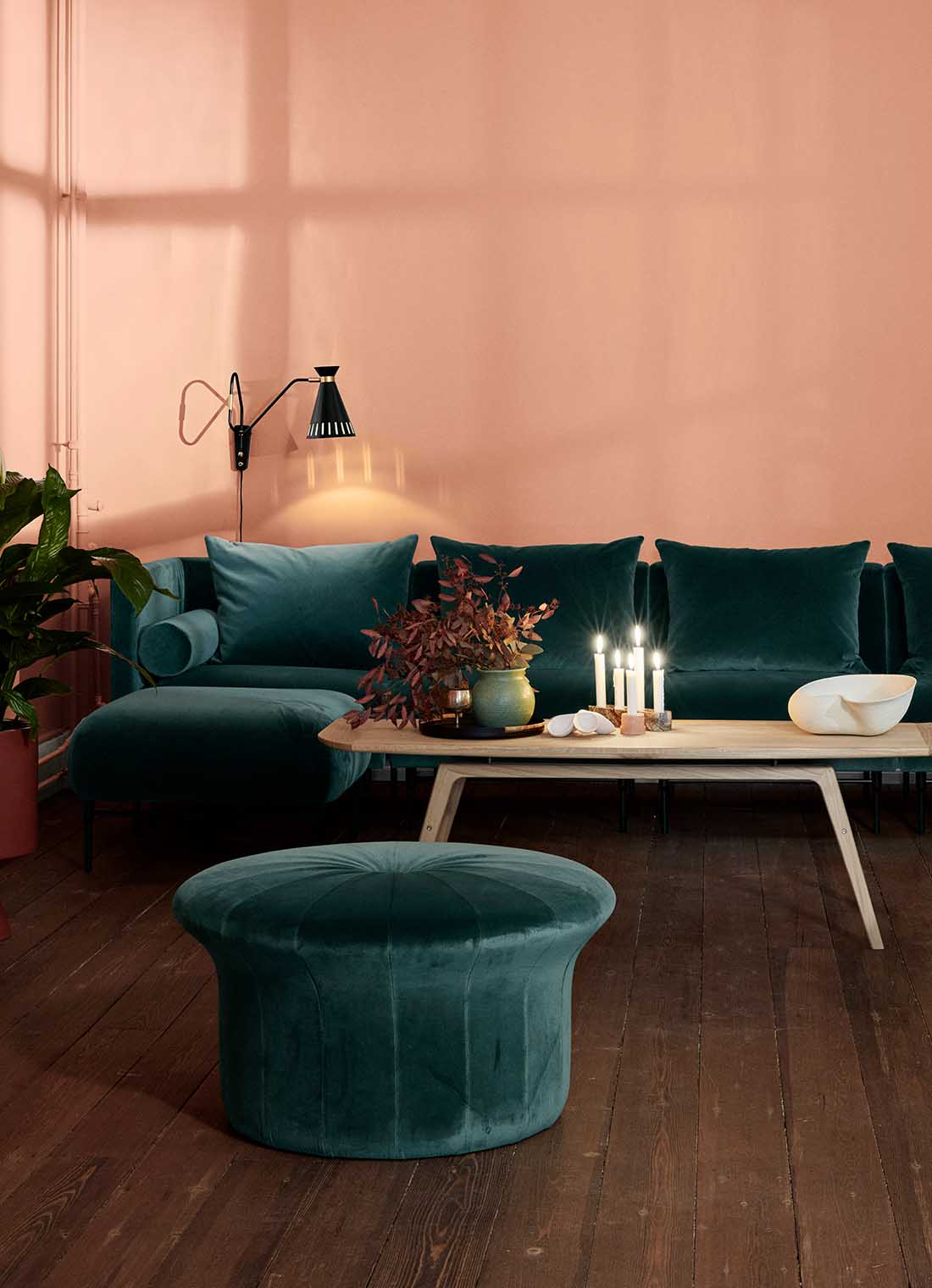 Grace pouffe together with galore sofa