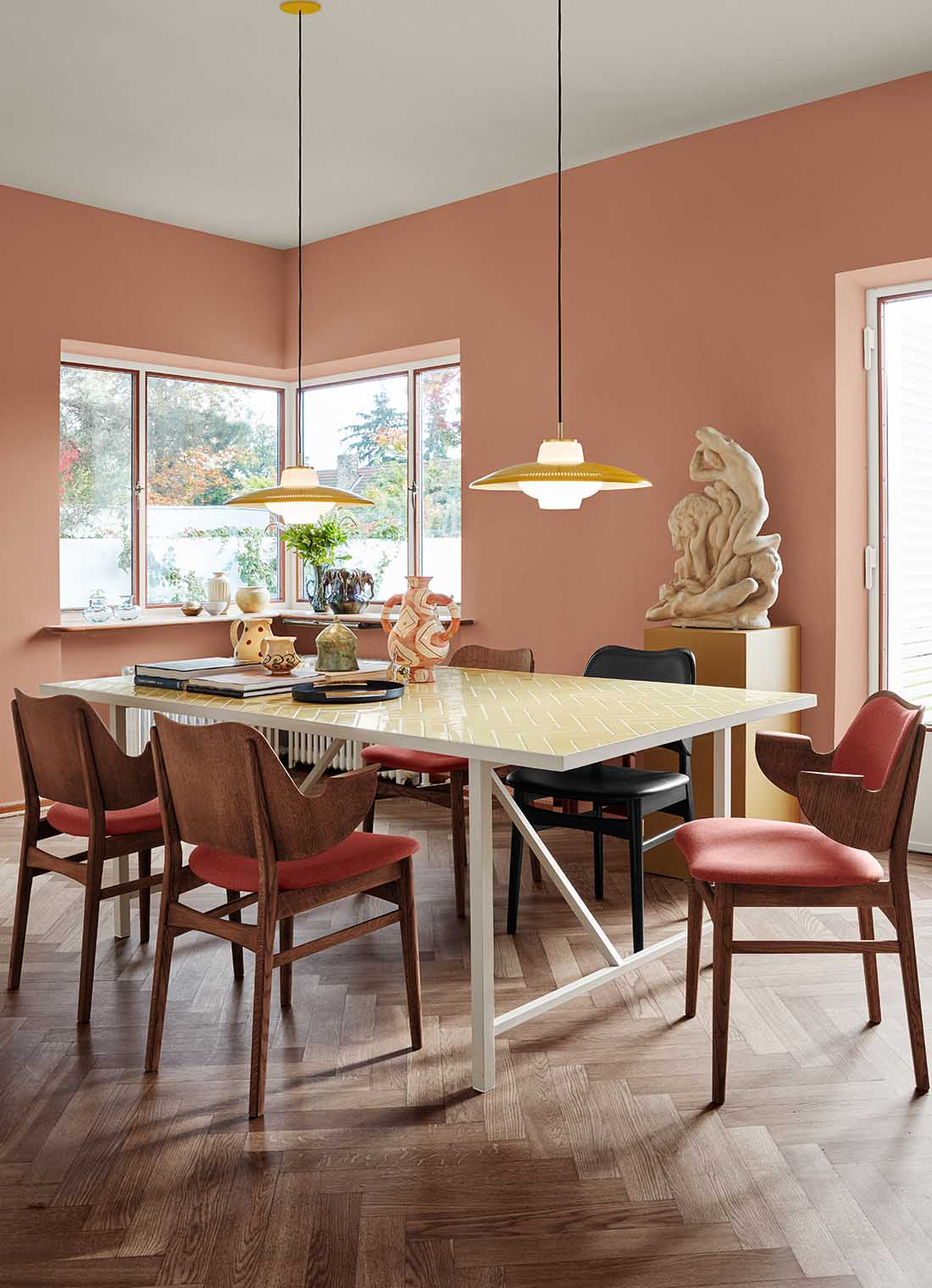 Opal shade pendant in dining room setting