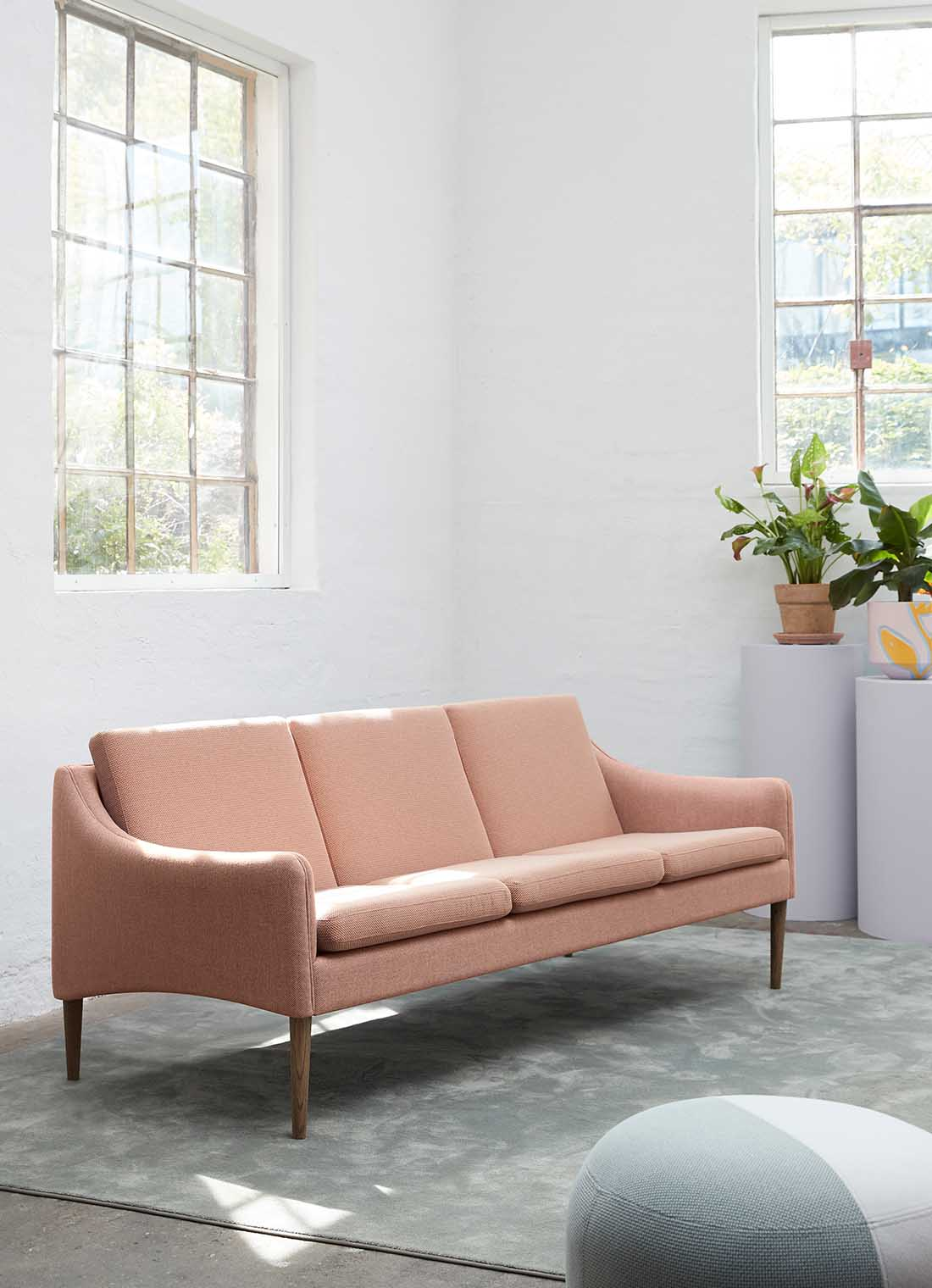 Mr. Olsen sofa in fresh peach sustainable fabric.